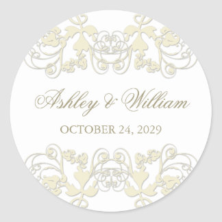 Vintage Floral Flourish Ivory Wedding Sticker