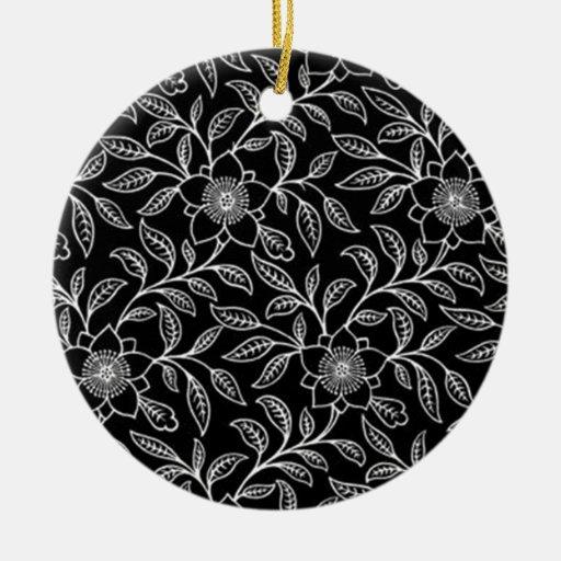 Vintage Floral Flowers Leaf Round Ornament