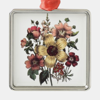Vintage Floral Flowers Premium Square Ornament