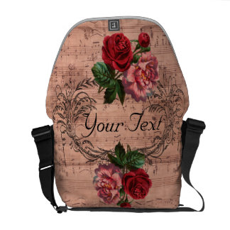 Vintage Floral For love of Music Custom Courier Bags
