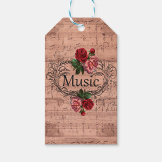Vintage Floral For love of Music Gift Tags