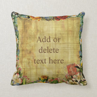 Vintage floral frame on stained coarse brown parch cushion