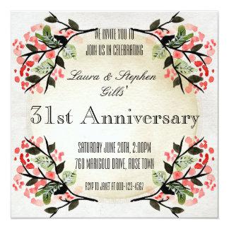 Vintage Floral Frame Wedding Anniversary Card