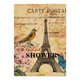 Vintage floral French Bird Paris Eiffel Tower Card