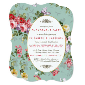 Vintage Floral Garden Botanical Engagement Party Card