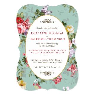 Vintage Floral Garden Botanical Wedding 13 Cm X 18 Cm Invitation Card