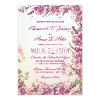 Vintage Floral Garden Wedding Invitations