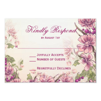 Vintage Floral Garden Wedding RSVP Cards