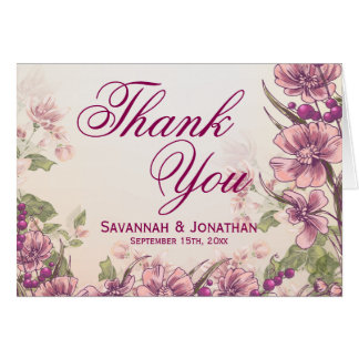 Vintage Floral Garden Wedding Thank You Cards