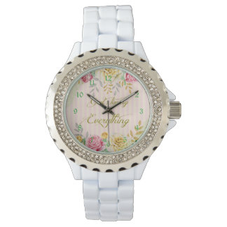 Vintage Floral God's Timing is Everything Quote Watch