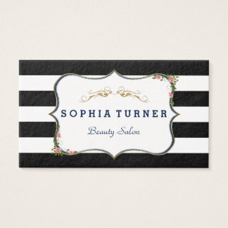 Vintage Floral Gold Black & White Stripes Business Card