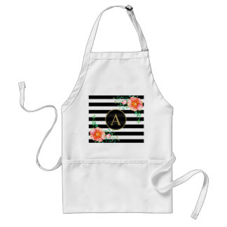 Vintage Floral Gold Monogram Black White Striped Standard Apron