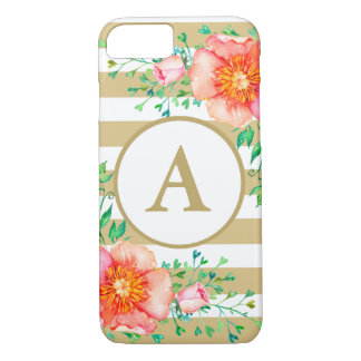 Vintage Floral Gold Monogram Gold White Striped iPhone 8/7 Case