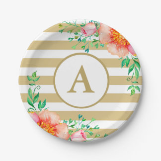 Vintage Floral Gold Monogram Gold White Striped Paper Plate