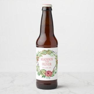 Vintage Floral Green & Pink Succulent | Wedding Beer Bottle Label