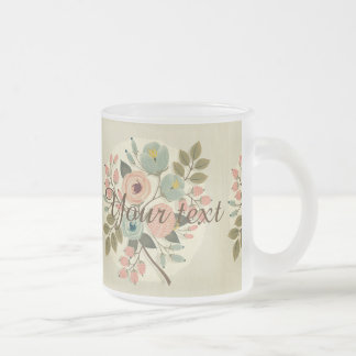 Vintage,floral,hand painted,water color,cute,girly frosted glass mug
