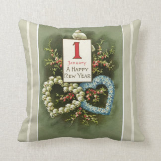 Vintage Floral Hearts and Dove Happy New Year Cushion