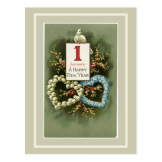 Vintage Floral Hearts and Dove Happy New Year Postcard