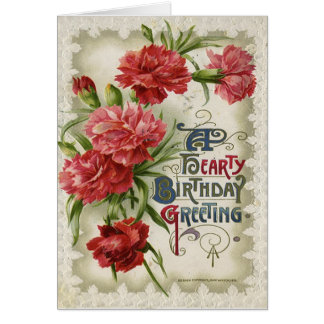 Vintage Floral Hearty Birthday Card