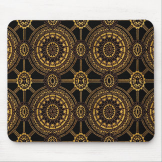 Vintage Floral in Gold and Black Mouse Pad