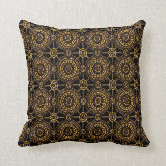 Vintage Floral in Gold and Black Throw Pillow