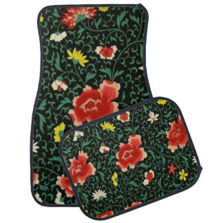 Vintage Floral Japanese Pattern Set of 4 Car Mats