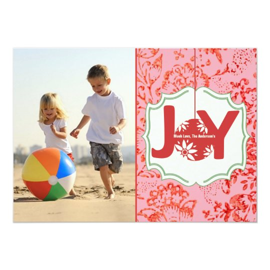 Vintage Floral Joy Christmas photo card