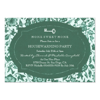 Vintage Floral & Key Housewarming Party Invite