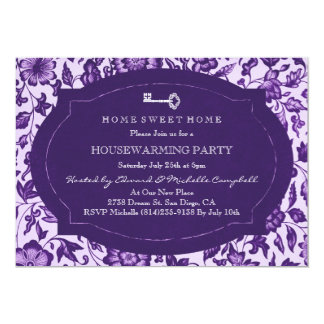 Vintage Floral & Key Housewarming Party Invite