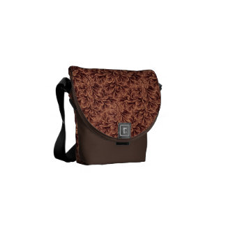 Vintage Floral Lace Leaf Coffee Brown Courier Bags