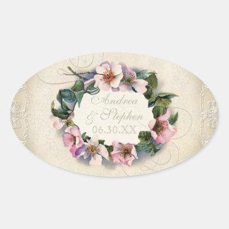Vintage Floral Lace Wild Pink Rose Swirl Formal Oval Sticker