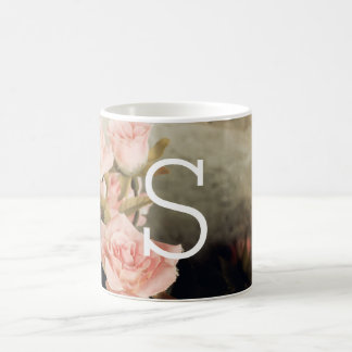 Vintage Floral Large Monogram Coffee Mug