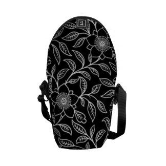 Vintage Floral Leaf Black Mini Messenger Bag