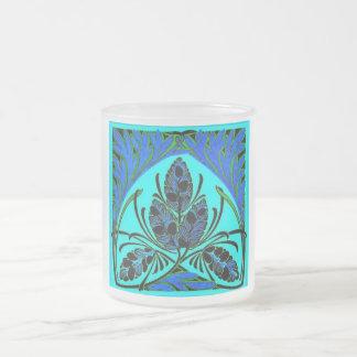 Vintage Floral Leaf Blue Green Mug