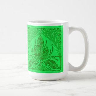 Vintage Floral Leaf Neon Green Coffee Mugs