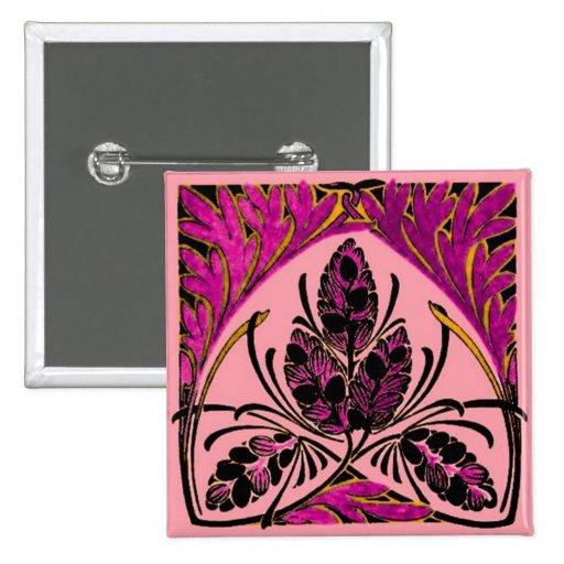 Vintage Floral Leaf Peach Pink Pin