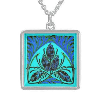 Vintage Floral Leaf Teal Necklace