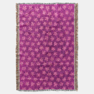 Vintage Floral Magenta Pink Violets Afghan Throw