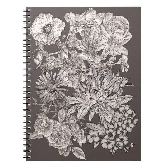 Vintage Floral Modern Ivory & Grey Botanical Notebook