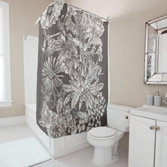 Vintage Floral Modern Ivory Grey Botanical Rustic Shower Curtain