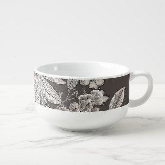 Vintage Floral Modern Ivory Grey Botanical Rustic Soup Mug