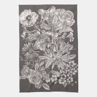 Vintage Floral Modern Ivory Grey Botanical Rustic Tea Towel