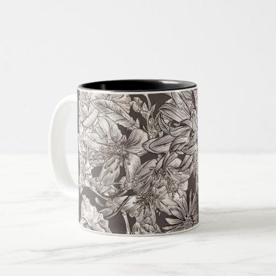 Vintage Floral Modern Ivory Grey Botanical Rustic Two-Tone Coffee Mug