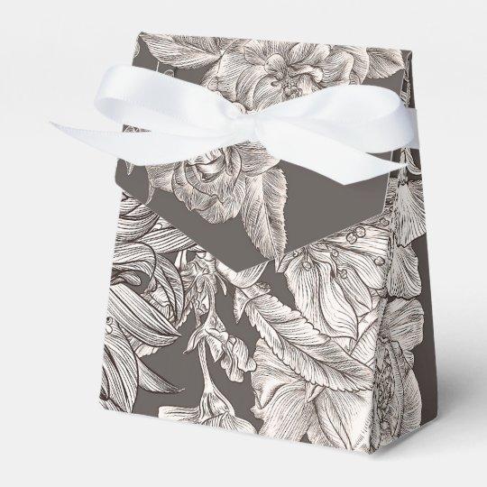 Vintage Floral Modern Ivory & Grey Bridal Shower Favour Box