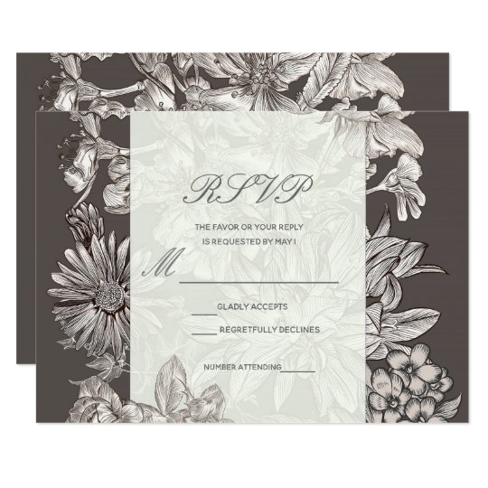 Vintage Floral Modern Wedding RSVP Reply Card