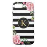 Vintage Floral Monogram Black White Striped iPhone 7 Case