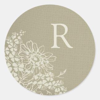 Vintage Floral Monogram Envelope Seal Round Sticker
