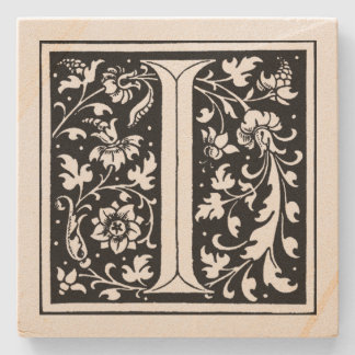Vintage Floral Monogram 'I' Stone Coaster