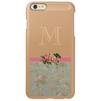 Vintage Floral Monogram Rose Gold