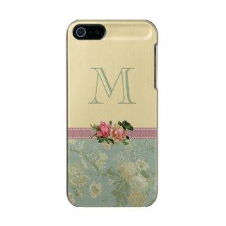 Vintage Floral Monogram Rose Green Gold Incipio Feather® Shine iPhone 5 Case